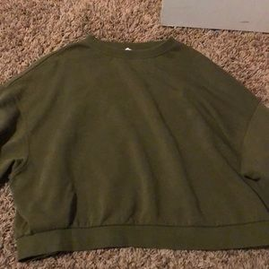 dark green semi cropped sweater